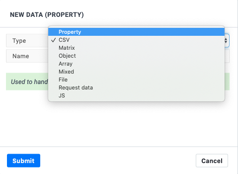 Data types in Boozang